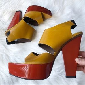 Marni Authentic Colorblock Slingback Platform Heel